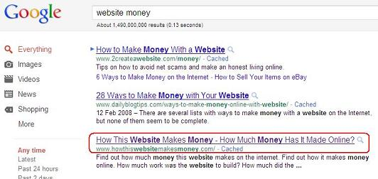 website money google search results